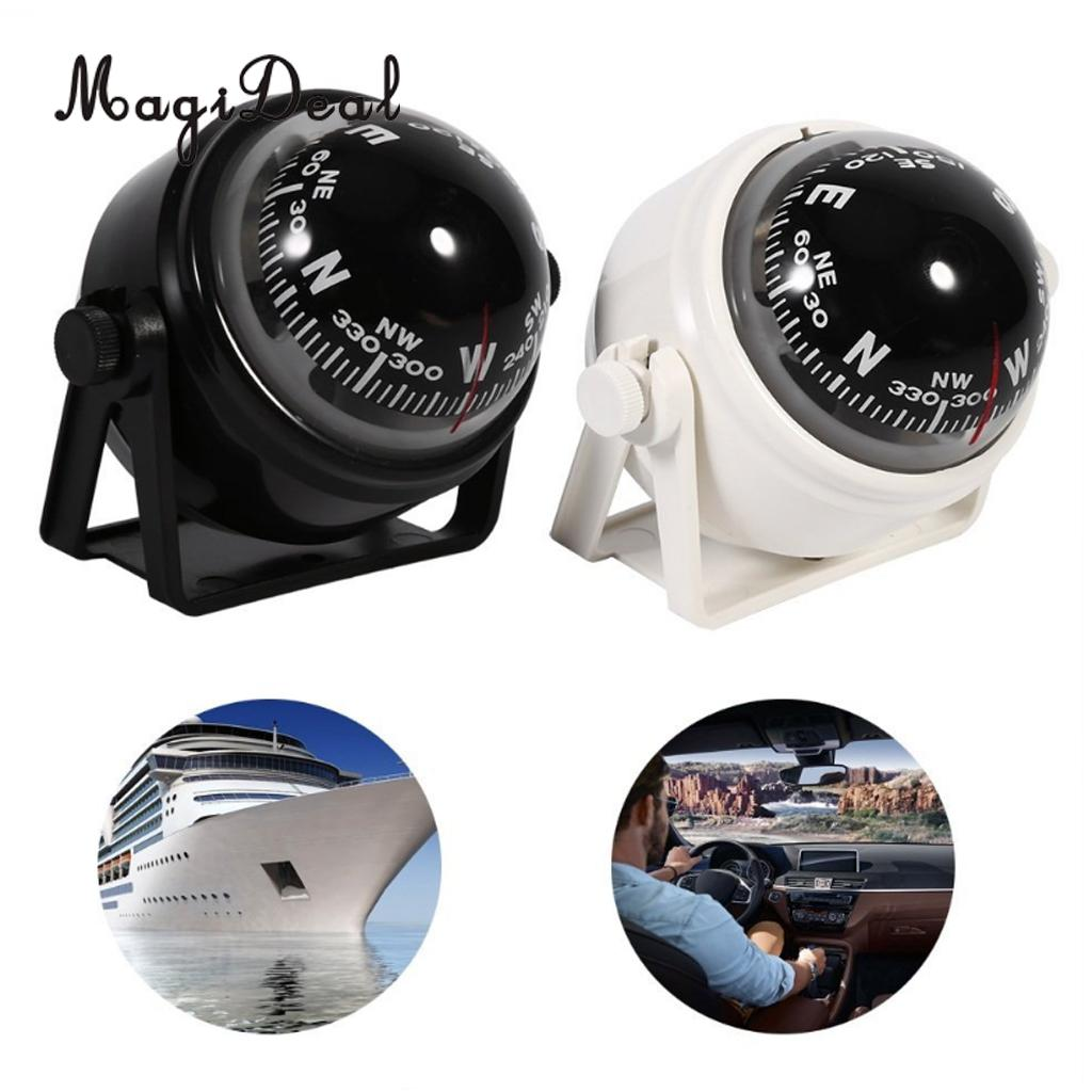 MagiDeal Adjustable Navigation Voyager Bracket Mount Professional Compass  Boat Car LC550-1 White/Black For Dinghy Yacht Access