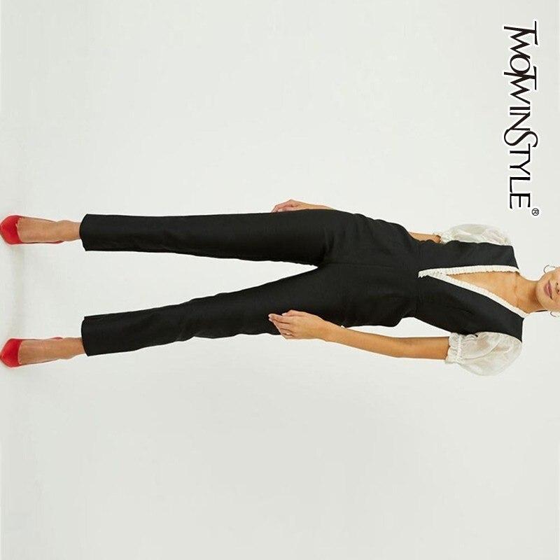 TWOTWINSTYLE patchwork Jumpsuits Voor Vrouwen V hals Puff korte Mouw hoge taille enkellange Broek vrouwelijke 2019 Elegante Mode-in Jumpsuits van Dames Kleding op  Groep 1