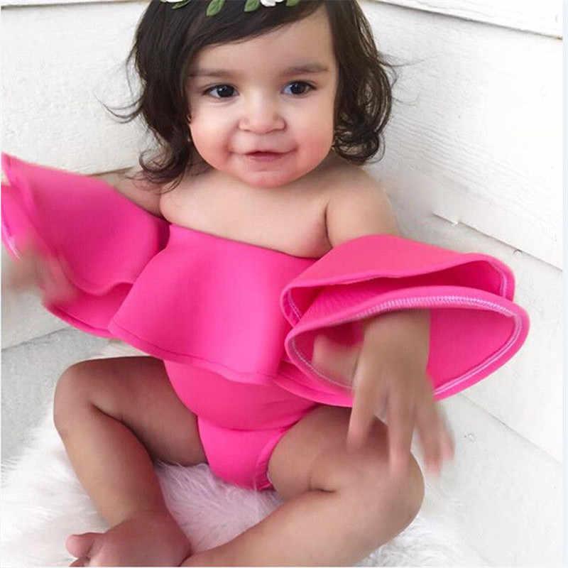 b7fa83d1e14e Newborn Baby Girl Sexy Off Shoulder Ruffles Pink Bodysuit Baby Clothing  Leotard Bebe Girl Clothes