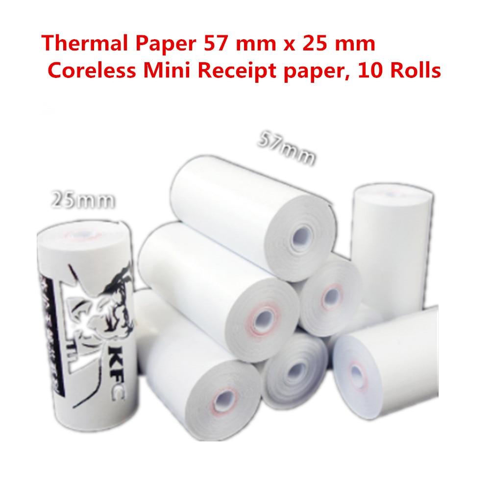Free Shipping Thermal Paper 57 Mm X 25 Mm Coreless Mini Receipt Paper, 10 Rolls