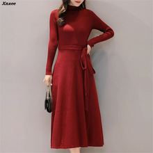 2018 New Autumn Winter Vintage A-line Sweater Dress Women Solid Long Sleeved Sexy Elegant Knitted Dresses Vestidos Xnxee