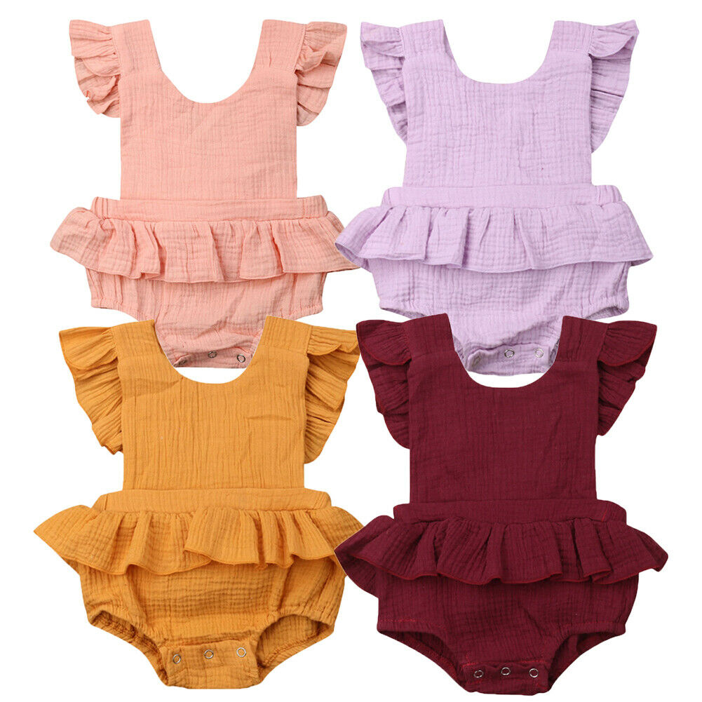 0-18M Cute Newborn Baby Girl Ruffles Sleeveless Backless Solid Color Skirted   Romper   Jumpsuit One Pieces Outfits Cotton Clothes