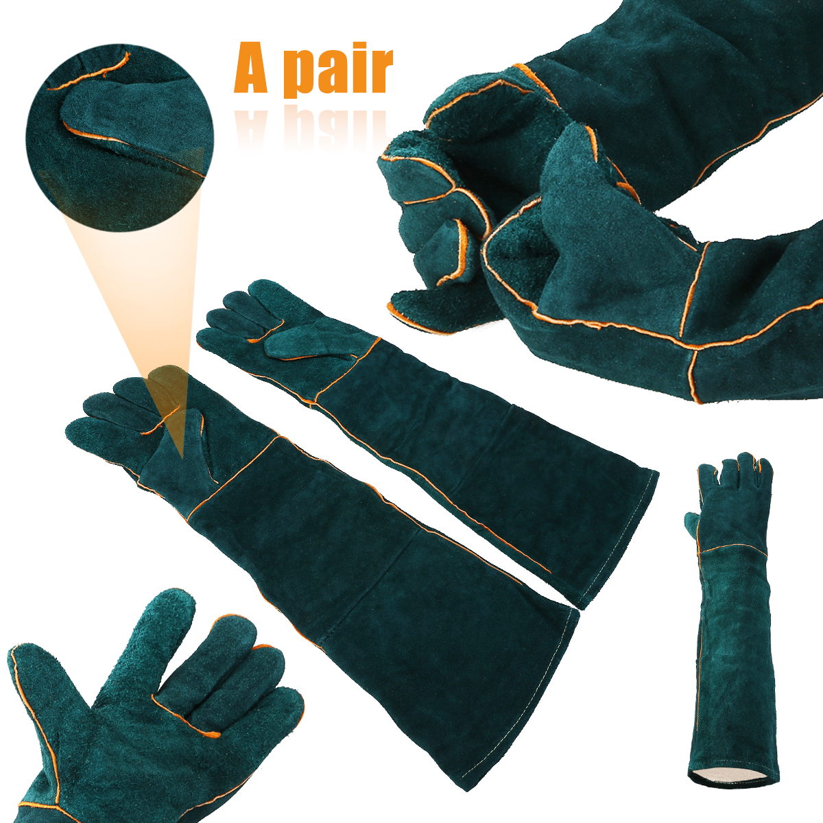 1pair Cowhide Welding Gloves Long Heat Resistant Gloves Safety Protective Leather Gear Working Gloves 60cm