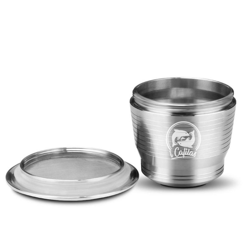 SUS304 Stainless Metal Reusable Capsule With Press Coffee Grinds Stainless Tamper Espresso Coffee Maker Basket For Nespresso