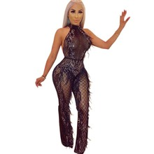 Fashion sequin Sexy transparent mesh bodysuit rompers womens jumpsuit macacao feminino body mujer jumpsuits patchwork Feathers