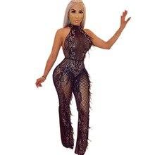 Fashion sequin Sexy transparent mesh bodysuit rompers womens jumpsuit macacao feminino body mujer jumpsuits patchwork Feathers цена в Москве и Питере