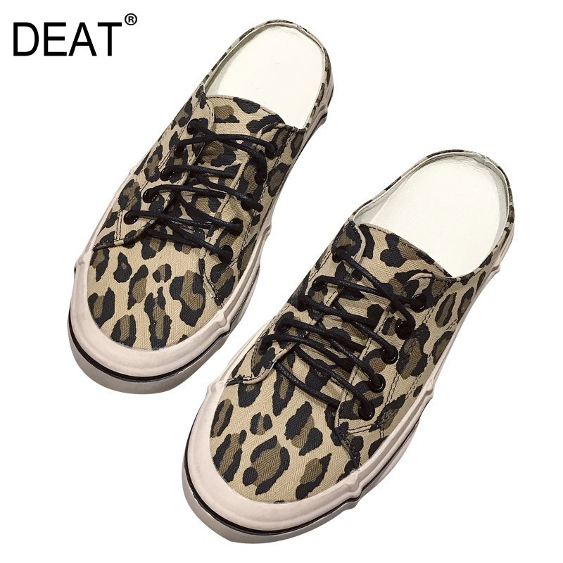 DEAT 2019 New Spring Summer Round Toe Shallow Canvas Bandage Leopard Print Outside Flat Slippers