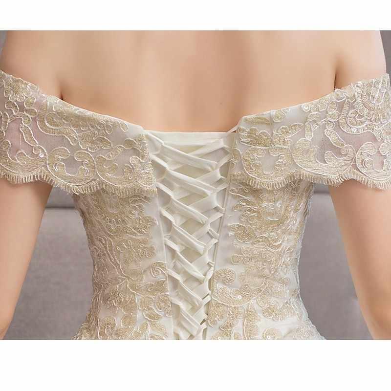 Роскошное Золотое кружевное свадебное платье с вышивкой 2019 120 см длинное свадебное платье с длинным шлейфом винтажное платье больших размеров Vestido De Noiva