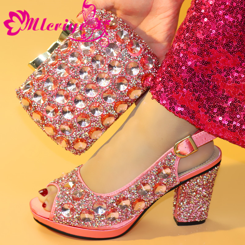 New Fashion Ladies Italian Shoes and Bag Set Decorated with Rhinestone Nigerian A777 PINK Wedding Shoes with Bag Set Party PumpsNew Fashion Ladies Italian Shoes and Bag Set Decorated with Rhinestone Nigerian A777 PINK Wedding Shoes with Bag Set Party Pumps