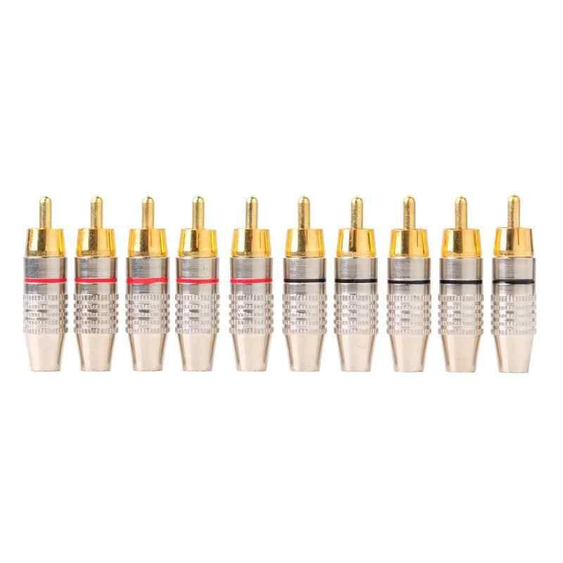 10pcs RCA Saldatura Connettore Audio Video Plug RCA FAI DA TE Altoparlante Spina di Adattatore Terminale del Diffusore Video Bloccaggio Cavo rca Stecker