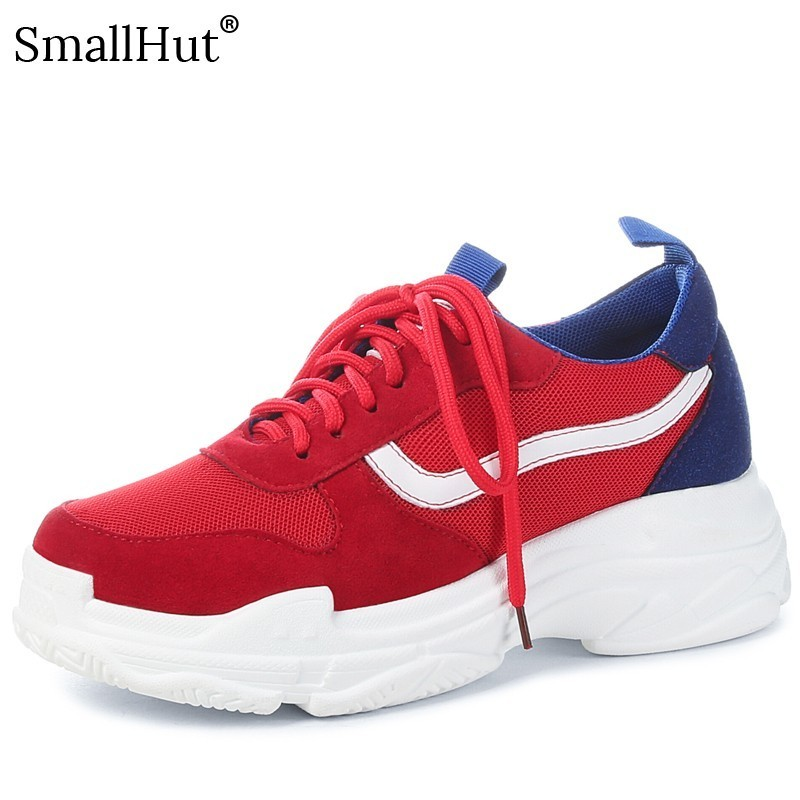 Women Flat Platform Sneakers 2019 Spring Autumn Ladies Lace up Casual Solid Shoes Fashion Women Black Red Cross Strap Shoes E041 in Women 39 s Flats from Shoes