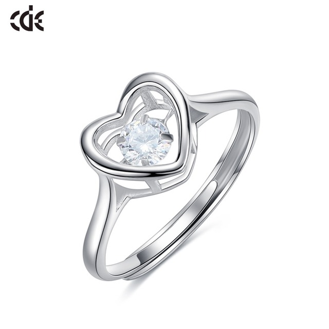 99990dbf05dd1 US $15.12 44% OFF|CDE Crystals from Swarovski Smart moving heart Fashion  Fine woman Ring 2019 S925 sterling silver anniversary Jewelry gift NEW-in  ...