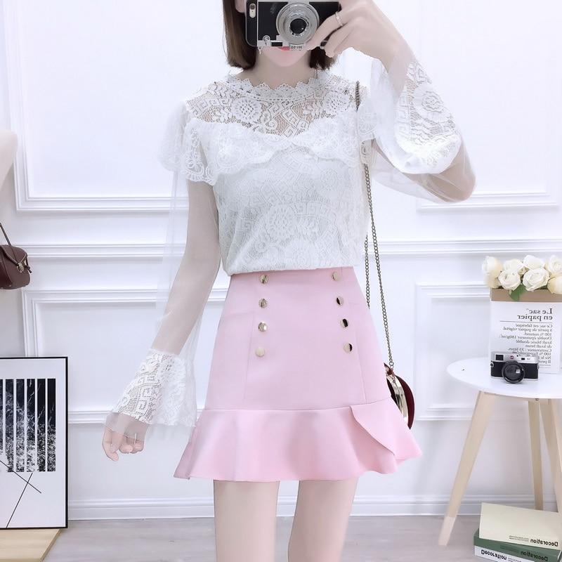 Dentelle haut chemisier nouveau design de mode costumes jupe à volants de taille haute jupes non doublé vêtement supérieur deux pièces tenue fille vestidos