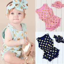 Summer 2pcs Baby Girl Gold Polka Dot Bodysuit Jumpsuit Outfits Set Clothes Baby Girl Bodysuits Cotton O-neck Sleeveless(China)
