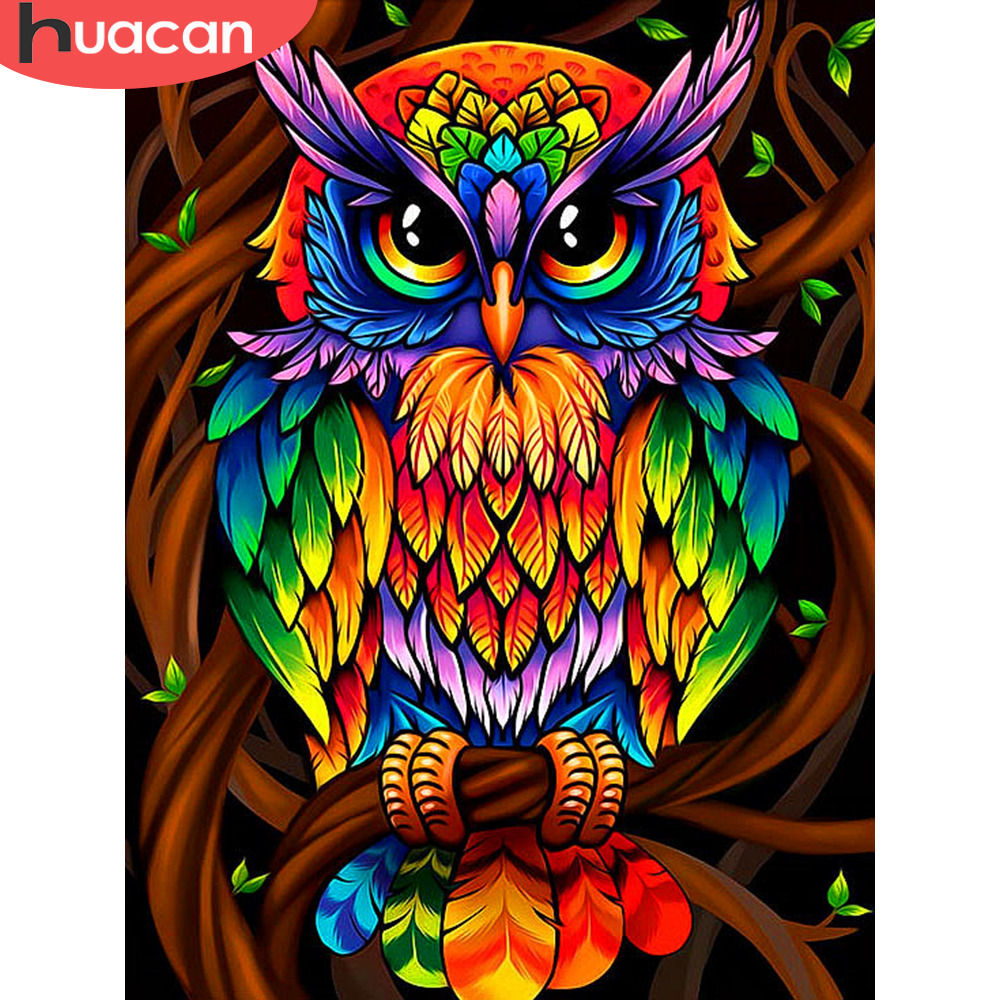 HUACAN Diamond Painting Full Square New Arrival Animals Diamond Embroidery Sale Owl Pictures With Rhinestones Home Decoration(China)