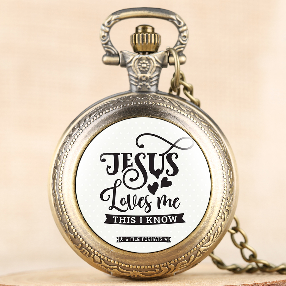 Jesus Love Me Series Pocket Watch For Men Women Necklace Pocket Watches For Male Female Quartz Pendant Watch Chain For Friend