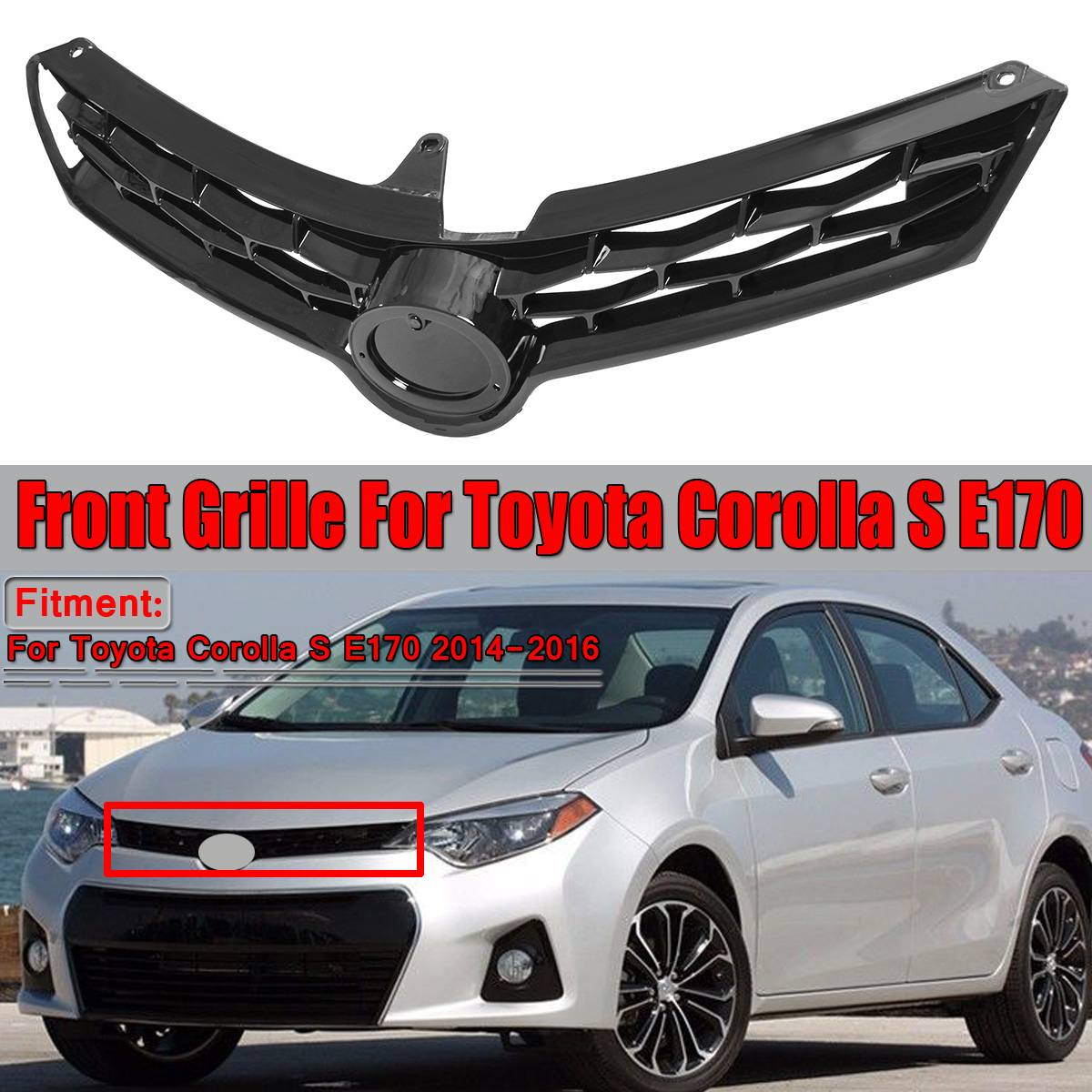 Glossy Black Grill Corolla Car Front Bumper Grille Grill For Toyota Corolla S E170 2014 2015 2016 Racing Grills Without EmblemGlossy Black Grill Corolla Car Front Bumper Grille Grill For Toyota Corolla S E170 2014 2015 2016 Racing Grills Without Emblem