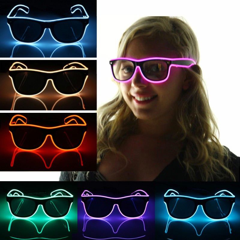 The Cheapest Price Wholesale El Wire Flashing Light Up Shutter Glasses Shades Eyewear Party Concert Favor Jade White Apparel Accessories Men's Glasses