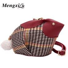 hot deal buy mengxilu cute rabbit design crossbody bags for women girls plaid high quality women shoulder crossbody bags phone purse handbags