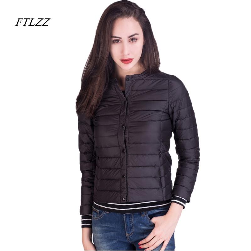 Ftlzz 2019 New Autumn Women Ultra Light White Duck   Down   Jacket Short Design Slim Plus Size S-3xl Warm   Down     Coats