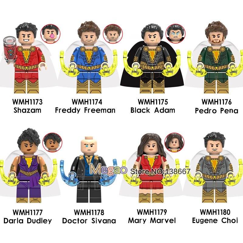 Shazam Wholesale 50PCS Building Blocks Flash Black Adam Lobo Firestorm DC Constantine Super Heroes Bricks Toys
