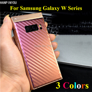 For Samsung W2019 W2018 W2017 W2016 3D Gradient Carbon Fiber Rear Back Cover Decal Skin Phone Protective Sticker Film