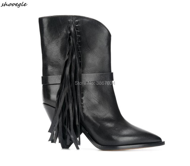 SHOOEGLE New Women Fringes Ankle Boots Spike Cone Heels Pointed Toe Shoes  Black White Tassel Booties Women Shoes Fall Winter 6e087caeeccf