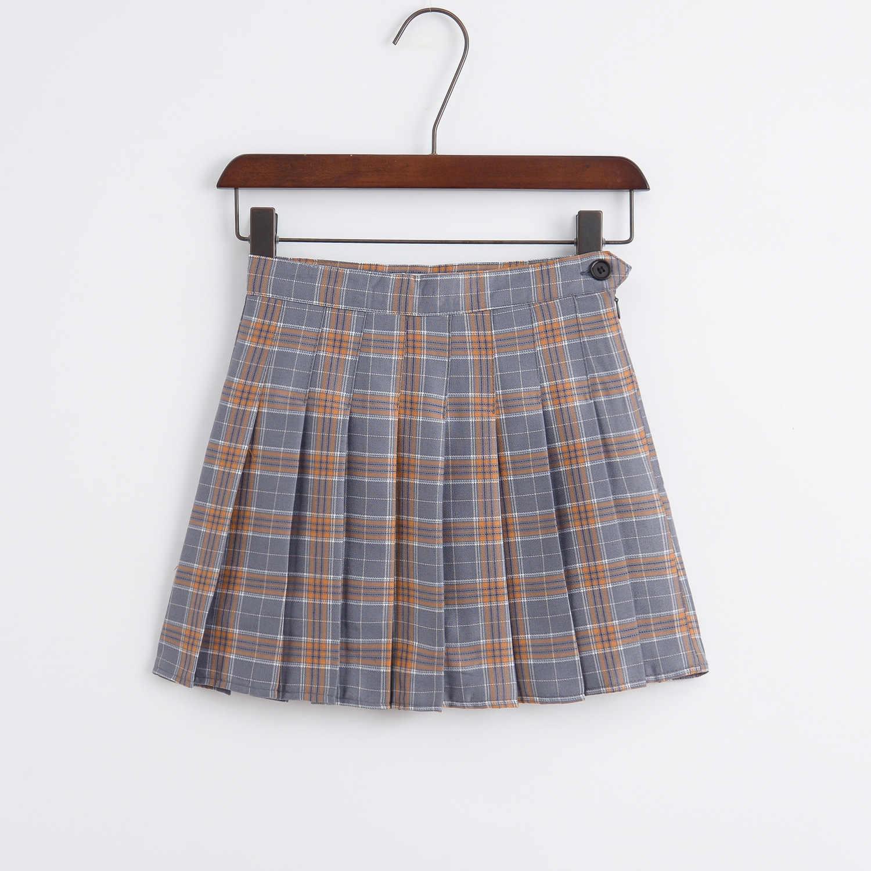 Harajuku women skirts 2019 Korean Summer Style New Plaid Pleated Skirt Rock Kawaii High Waist Fashion Femela Pleates Skirts