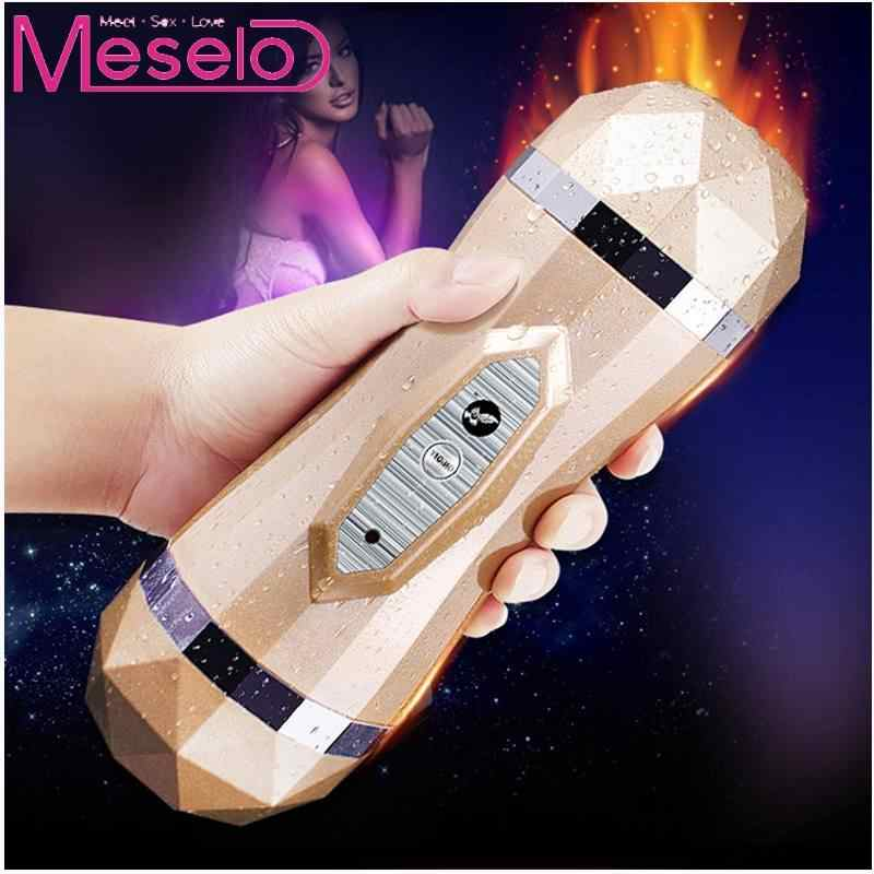 Meselo 7Vibration Dual Channel Male Masturbators Mouth Artificial Vagina Sex Toys Electric Vibrations Masturbator For Man Sextoy