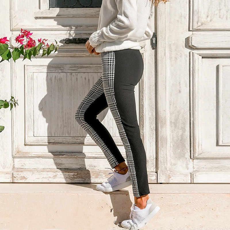 Kobiety na co dzień ołówek spodnie Patchwork wysoka talia spodnie w kratę Bodycon spodnie legginsy kobiety modne spodnie gorąca sprzedaż