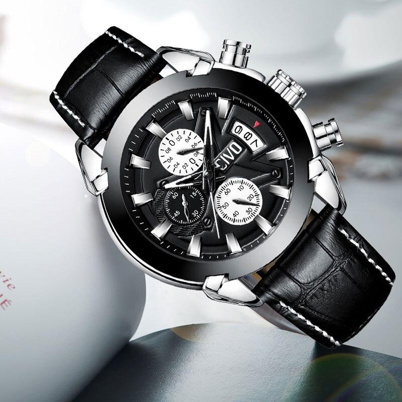 CIVO montre de sport pour homme étanche chronographe noir marron montre en cuir décontracté Date calendrier analogique Quartz montres hommes