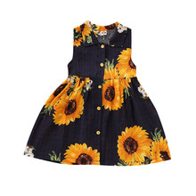 280d6278e Emmababy de moda lindo bebé niñas vestido Floral azul marino niños franela  de princesa Tutu vestido de ropa de verano