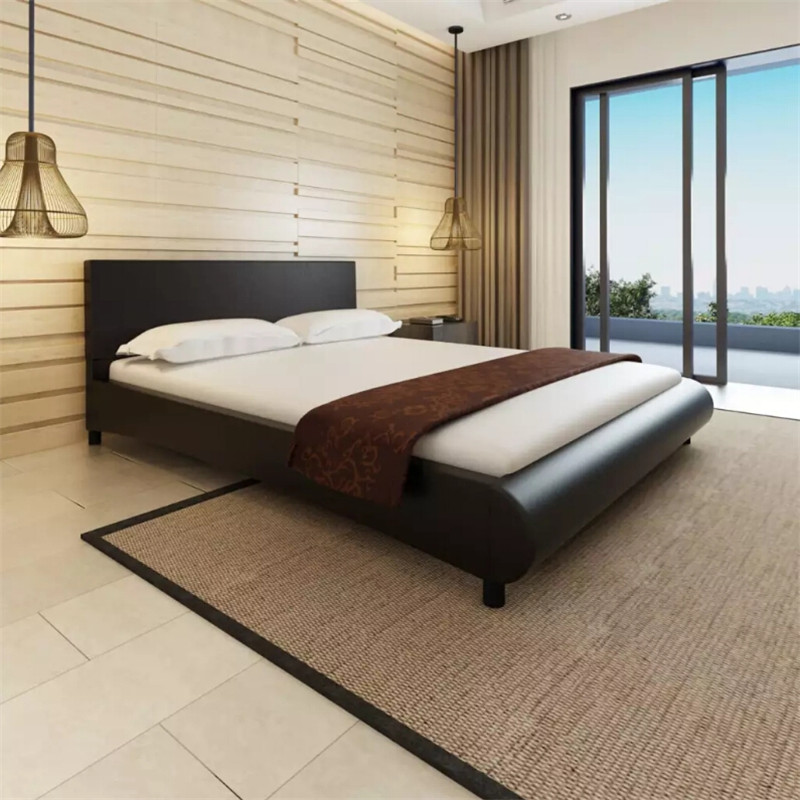 <font><b>Bed</b></font> 160X200 Cm Artificial Leather <font><b>Black</b></font> Sturdy Plywood Slats Provide Both Support And Comfort Durable <font><b>Bed</b></font> Suitable For Home Use