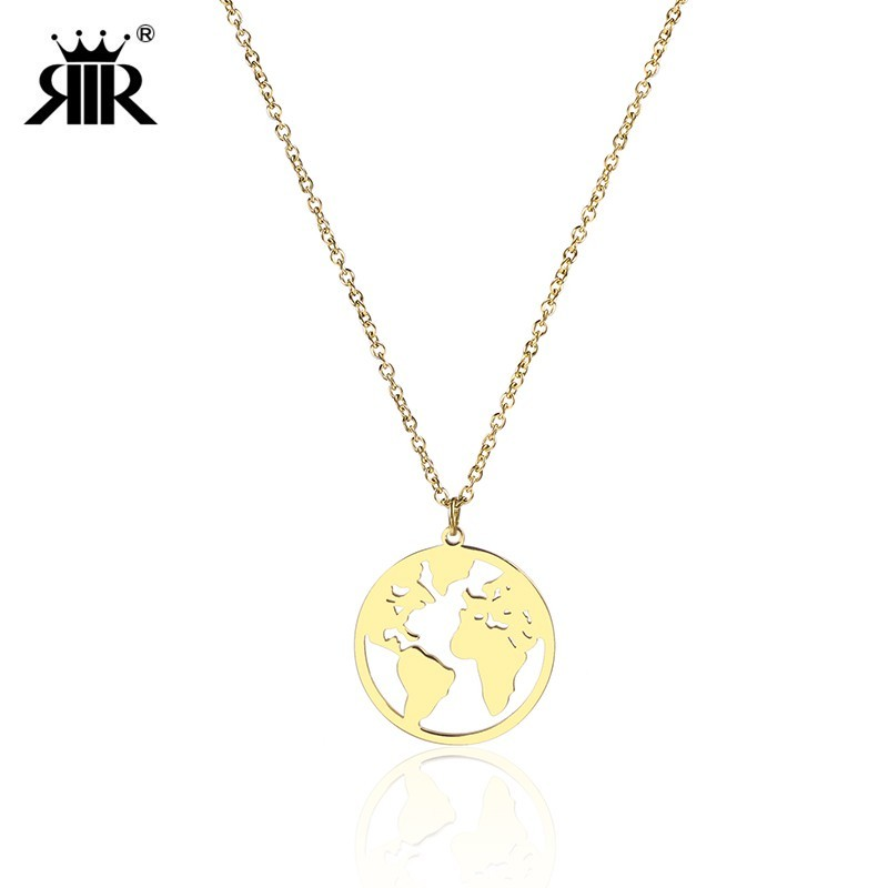 RIR World Map Necklace Globe Earth Continent Pendant Necklaces Simple Minimalist Travel Map Globetrotter Jewelry Gap Year Gifts necklace