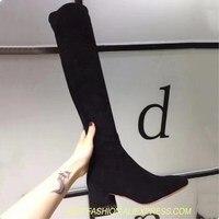 Женские сапоги на высоком каблуке с заклепками, пикантная модная дизайнерская обувь, сапоги выше колена, эластичные сапоги на толстом каблу