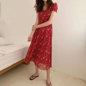 Image 2 - Chiffon Dresses Women Summer Korean Style Clothes Short Sleeve A Line Red Floral Printed Vintage Cute Dress Long