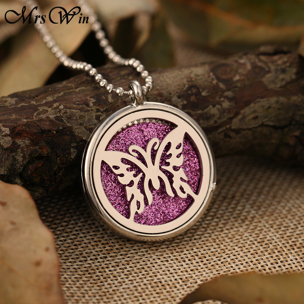 Aroma Diffuser Necklace Open Stainless Steel Lockets Pendant Perfume Essential Oil Diffuser Aromatherapy Locket Necklace in Pendant Necklaces from Jewelry Accessories