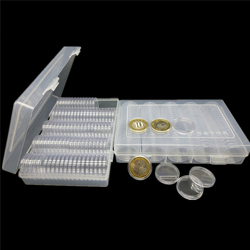 Capsules-Holder Storage-Box Coin-Cases Ps-Material Clear Transparent Round Portable 100PCS title=