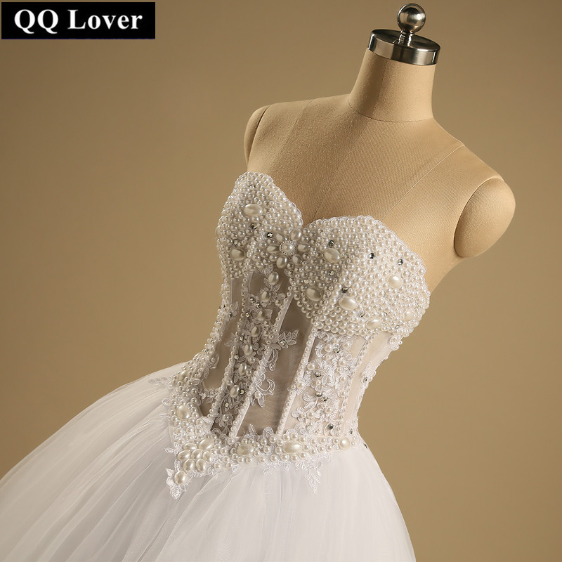 QQ Lover 2019 Wedding Dress Sexy Custom Made  See Through Back Pearls Wedding Dresses With Real Pictures