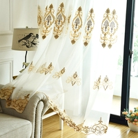 Beautiful Embroidery Curtain Tulle Classical Flower Window Screening Curtain Finished Products Retro White Tulle Curtain