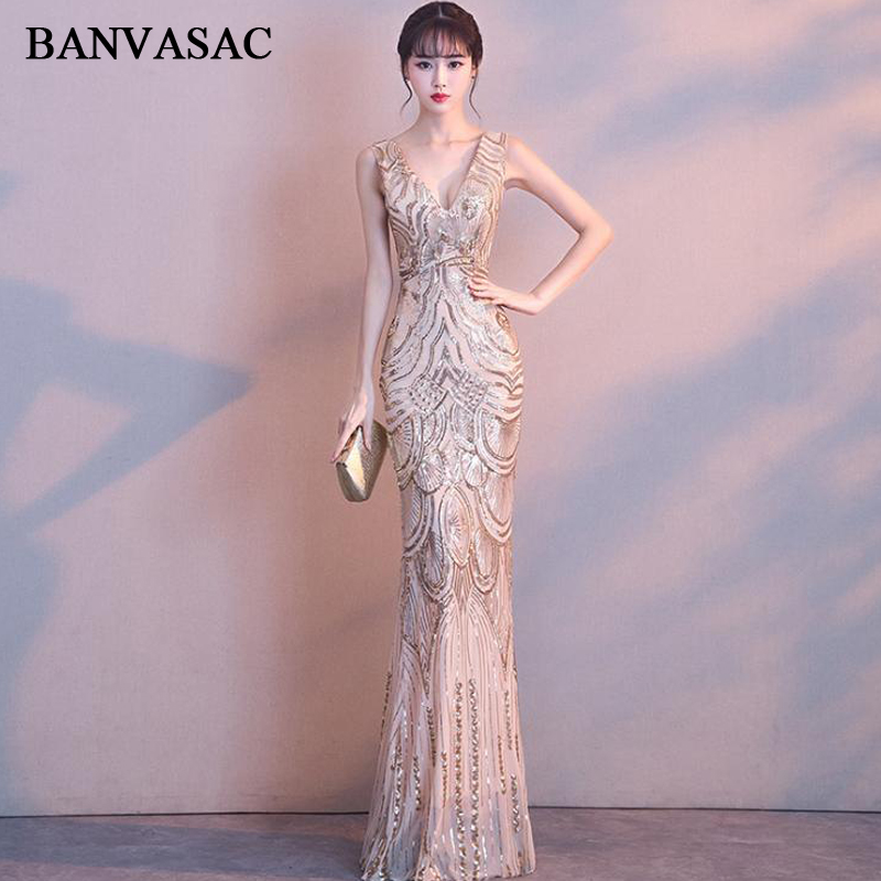 BANVASAC Sexy Deep V Neck 2019 Sequined Mermaid Long   Evening     Dresses   Elegant Party Tank Zipper Backless Prom Gowns