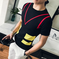 Summer Black Mens T Shirt Slim Fit Crew Neck T shirt Contrast Color Men Short Sleeve Shirt Casual Tshirt Tee Tops Short Shirt