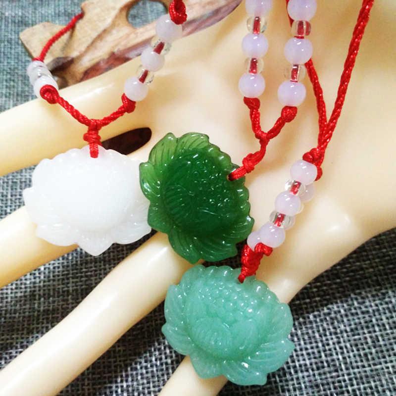 Naszyjnik wisiorek moda mężczyzna lotosu wisiorek wisiorek szczęście 1 sztuka urok kobiet naszyjnik naturalny zielony kamień
