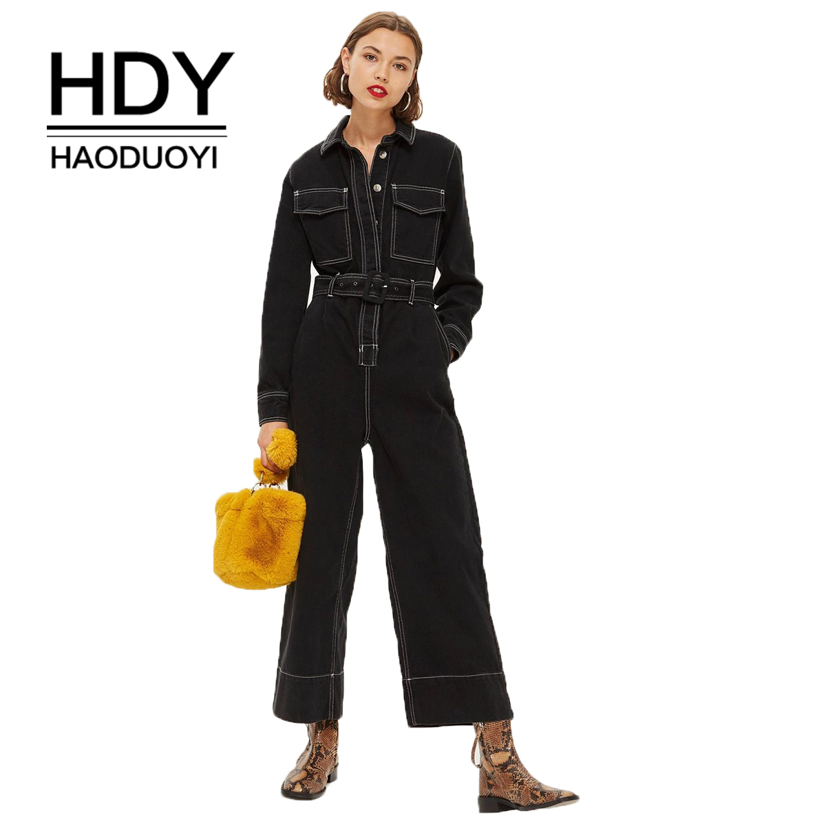 HDY Haoduoyi Simple European and American Handsome Locomotive Wind Pressure Line Open Line Tooling Wind Loose Wide Leg Jumpsuit