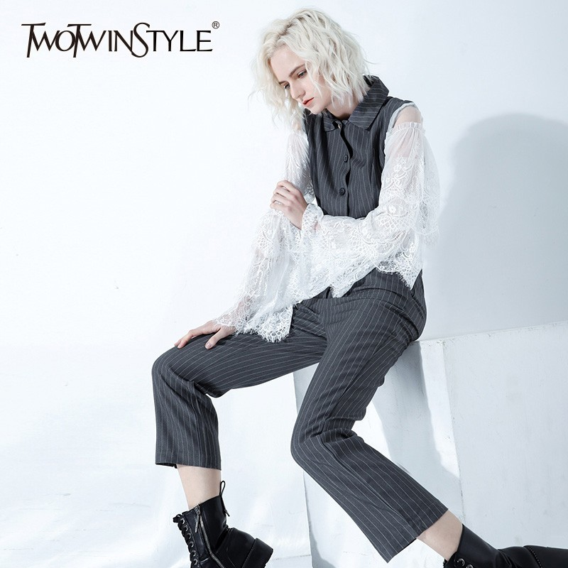 TWOTWINSTYLE Fashion Striped Women Suits Patchwork Lace Sleeve Blazer Crop Tops High Waist Pants Casual Two Piece Sets Female