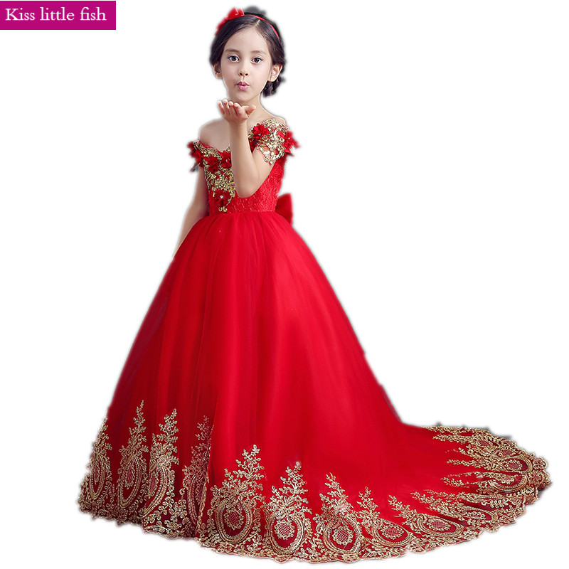 Free shipping Red long Trailing girls dresses for party and wedding Girls dresses 2019
