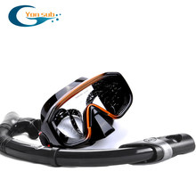 Professional Scuba Diving Swimming Silicone Mask Breathing Tube Set Anti-fog Watersports Equipment Snorkeling Hunting YM138+YS03(China)