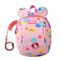 Disney 2ln1 Toddler Anti Lost Backpack 1.8m Antilost Wrist Link Kids Walking Strap Leashes Bag Mickey Minnie Schoolbag