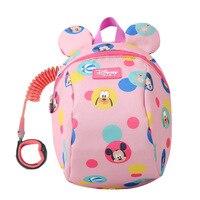 Disney 2ln1 Toddler Anti Lost Backpack 1.8m Antilost Wrist Link Kids Walking Strap Leashes Bag Mickey Minnie Schoolbag