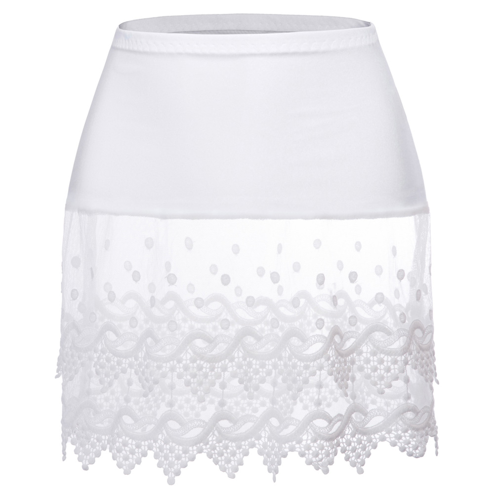 Women skirt Sheer Lace Trim Rayon Tops Extender Half Slip Mini Skirt
